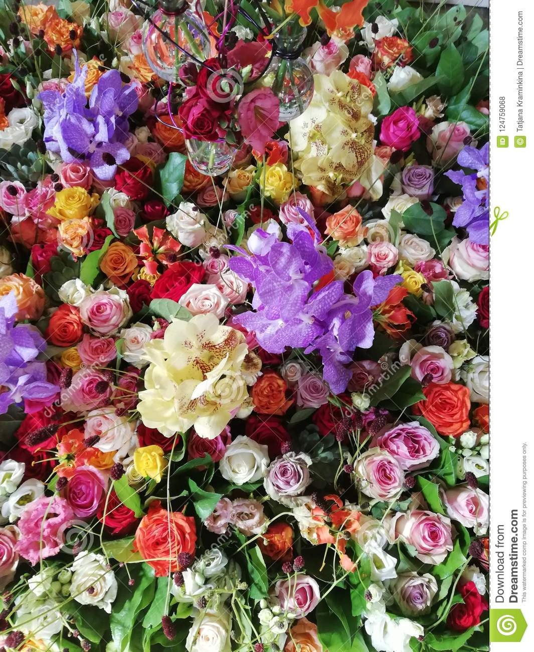 Beautiful Fresh Flower Bed And Texture With Roses Orchids Top View