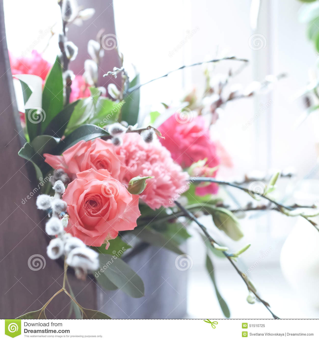 Beautiful fresh flowers in a wooden box natural light setting stock beautiful fresh flowers in a wooden box natural light setting royalty free stock photo download beautiful fresh flowers izmirmasajfo