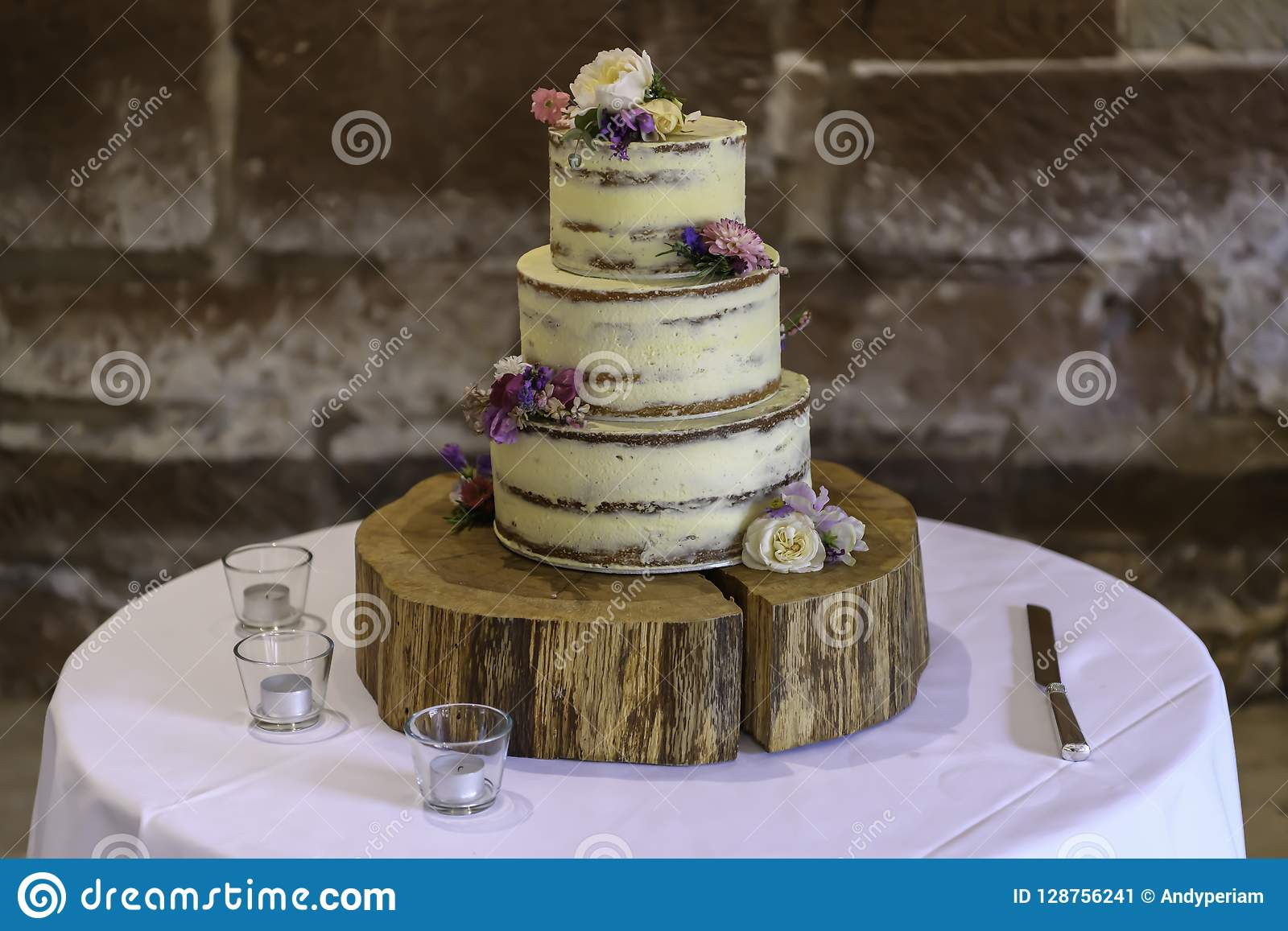 Homemade Wedding Cake.Homemade Semi Naked Wedding Cake Stock Image Image Of Buttercream