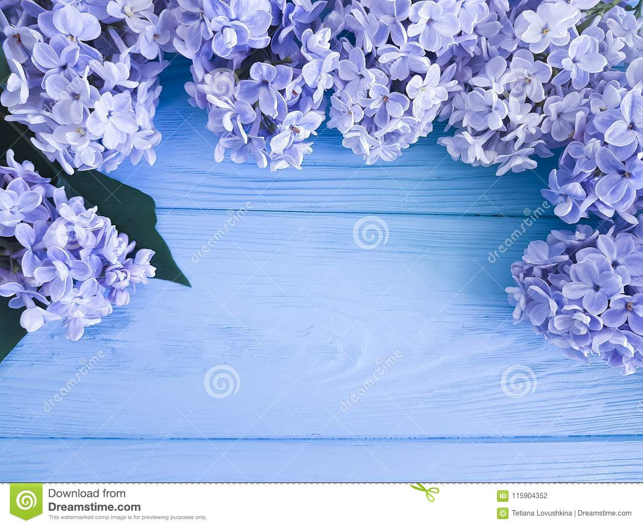 Beautiful fresh lilac decoration greeting anniversary mothers day gift holiday on a wooden background border