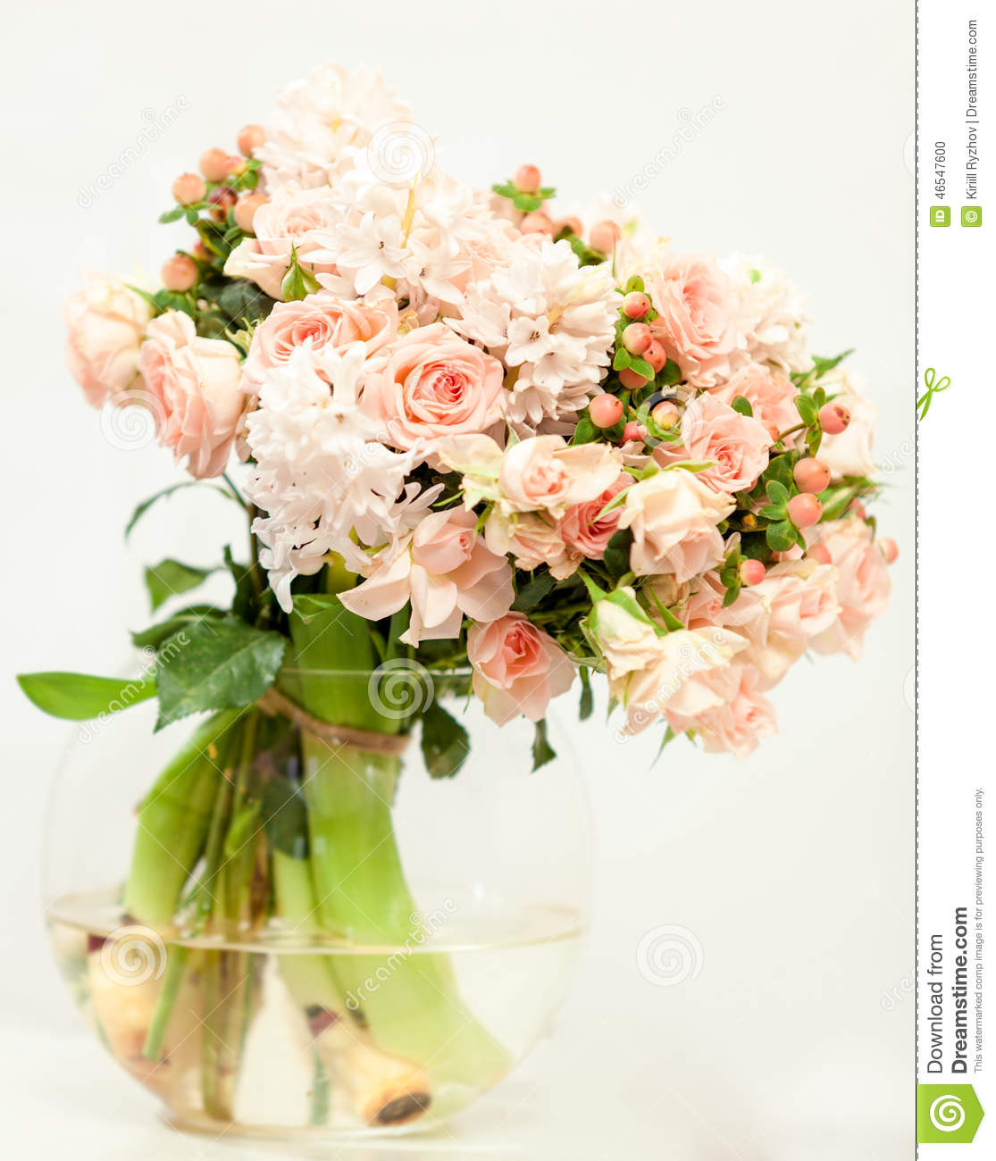 Beautiful Fresh Pink Flowers In Glass Vase Stock Photo Image Of