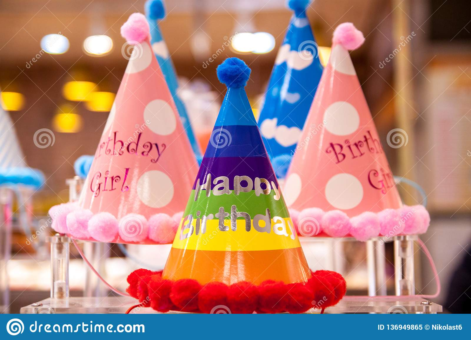 Beautiful Funny Birthday Hats With Bright Colors Festive Background The Inscription Happy