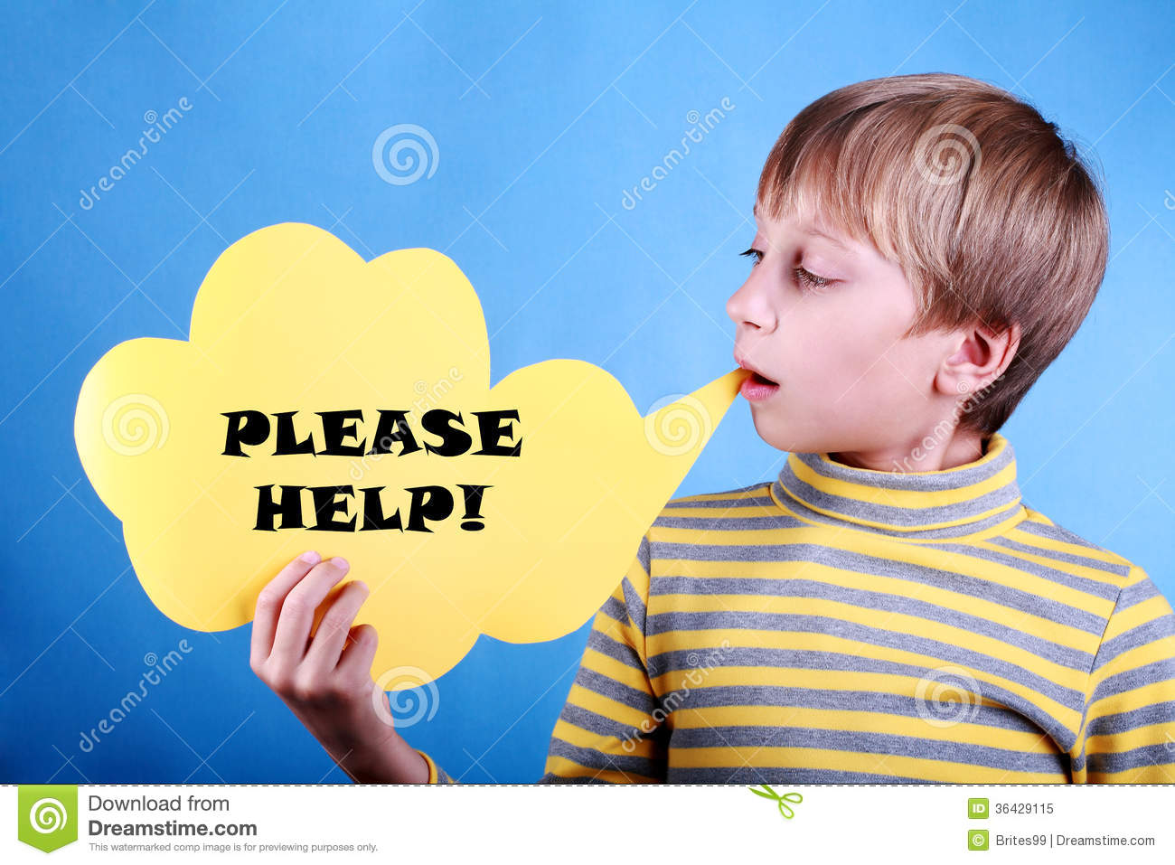 beautiful funny blond boy holding a message please help royalty free