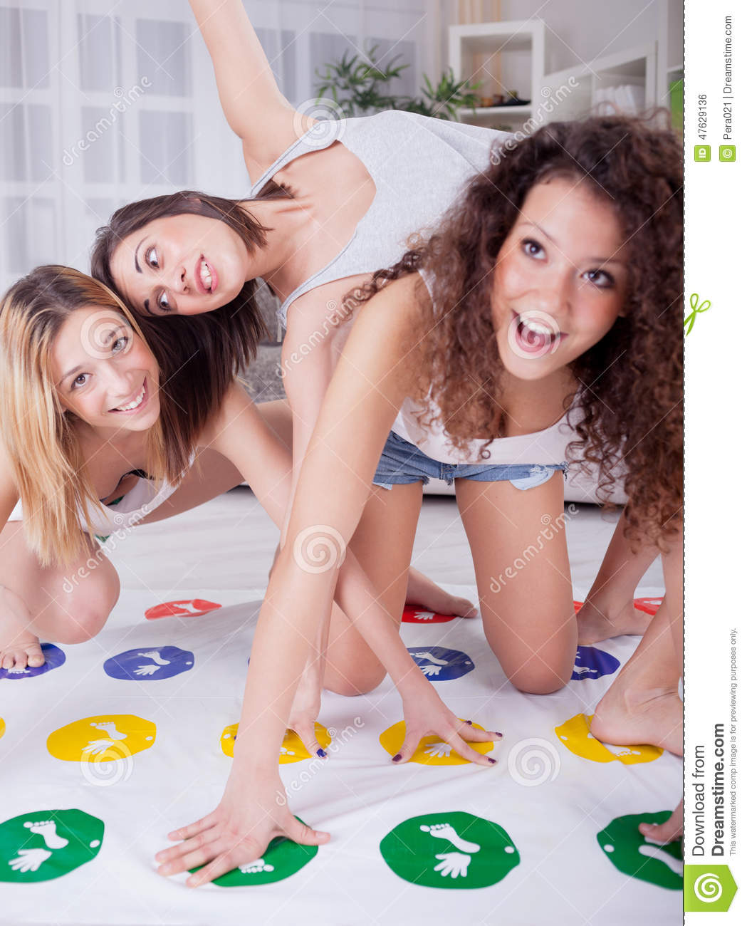 Naked girls playing twister game looking like gymnasts 8