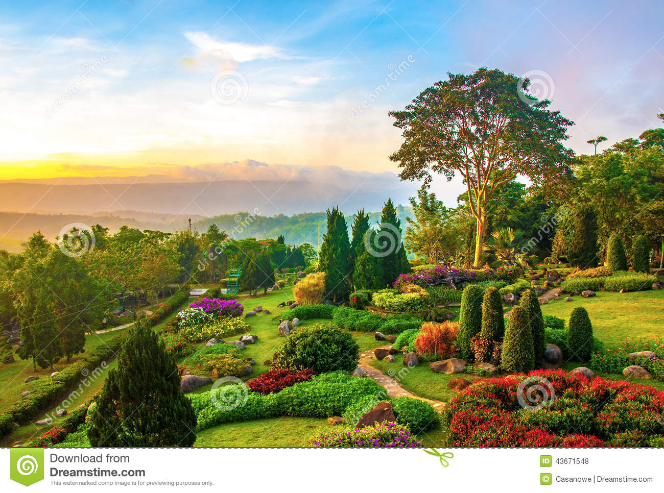 garden design with beautiful garden of colorful flowers on hill stock photo image with landscaping stones