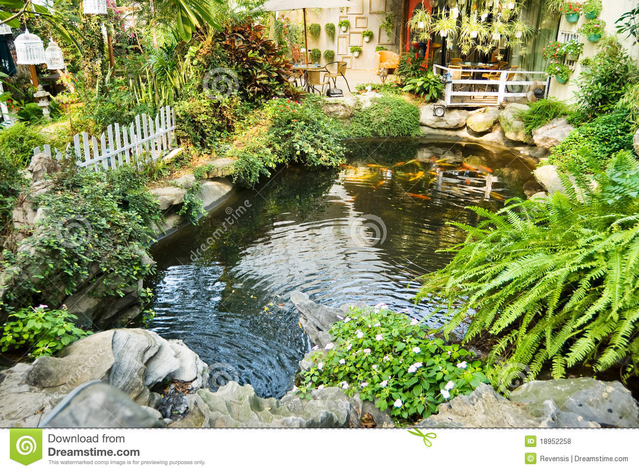 Beautiful garden with japanese carps in the pool royalty for Japanese garden pool