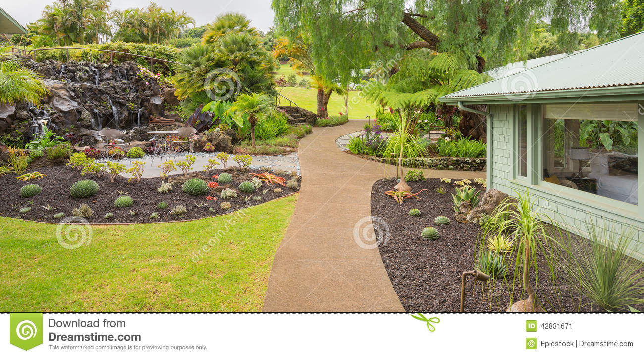 Beautiful garden outside of a modern house stock photo House garden pics