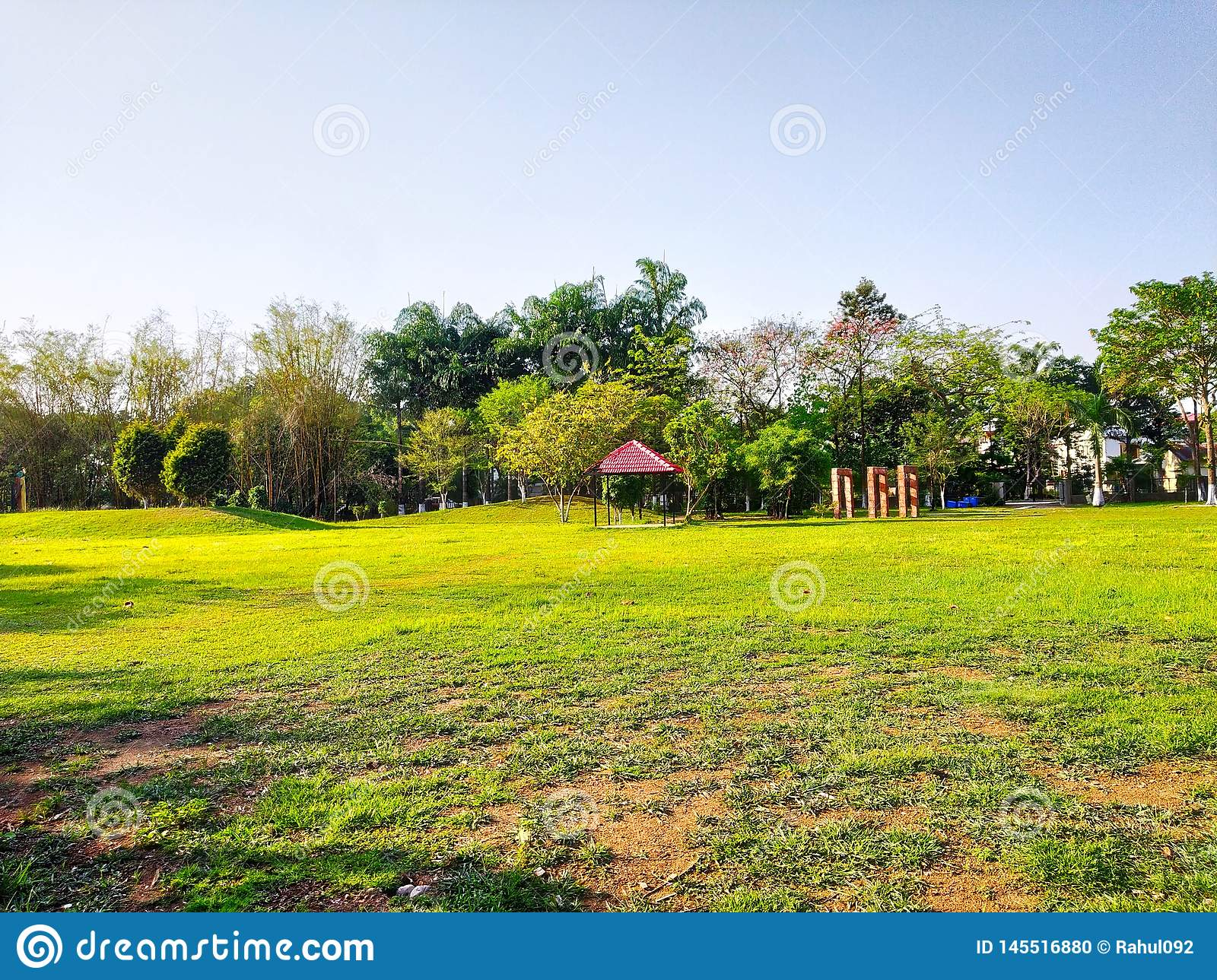 Beautiful garden and over full green grass and back and ausome blue sky background seen was magical