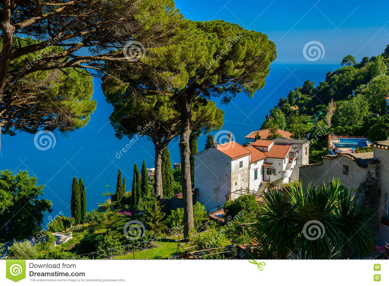 a beautiful garden of villa rufolo, amalfi coast, italy. stock