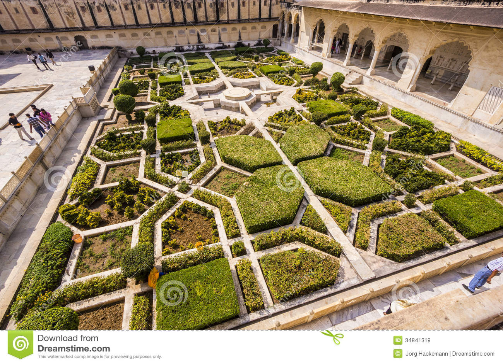 Beautiful gardens in amer fort editorial stock image for Gardening tools jaipur