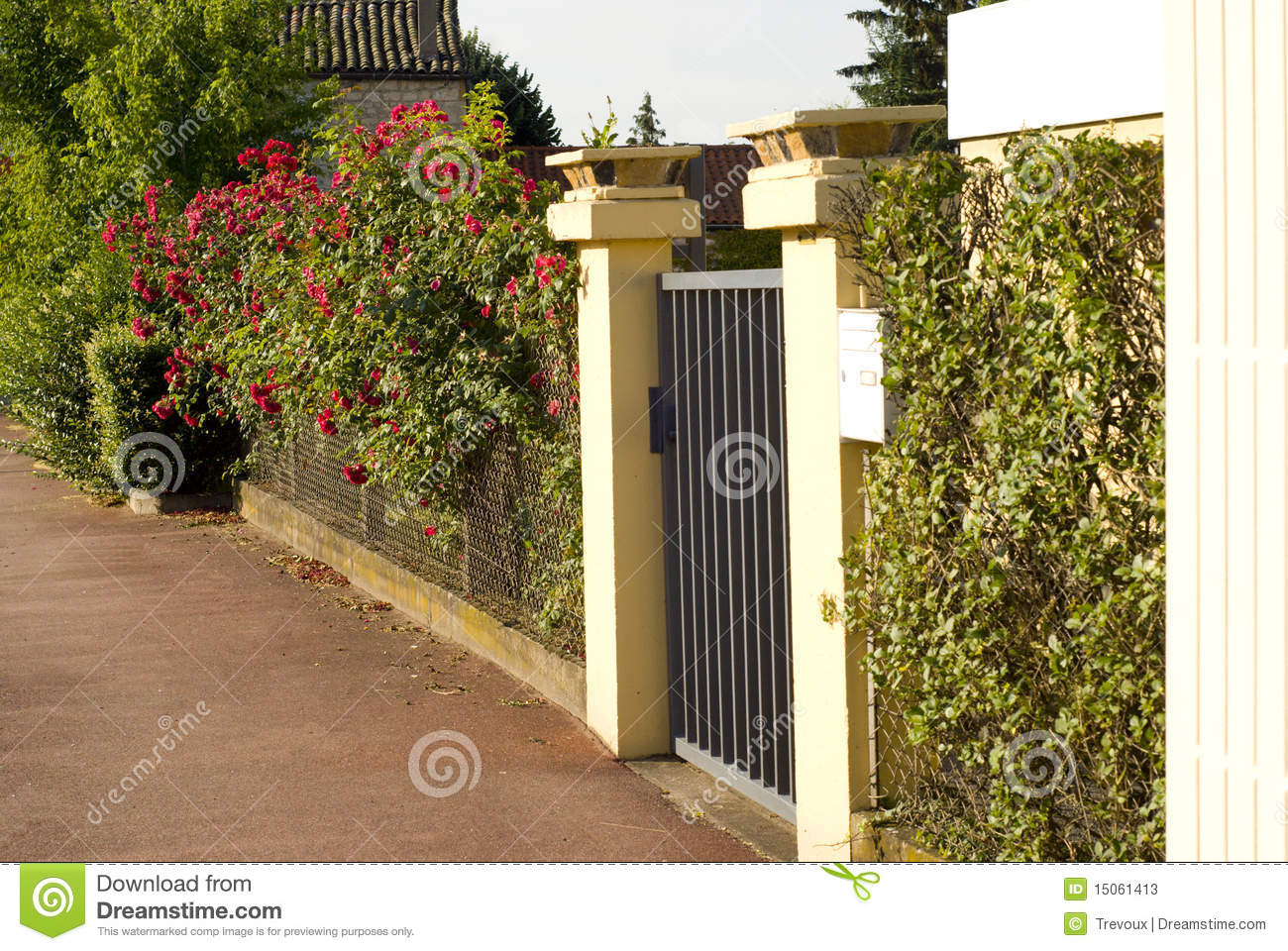 Beautiful Gate Entrance To A Front Yard Stock Image