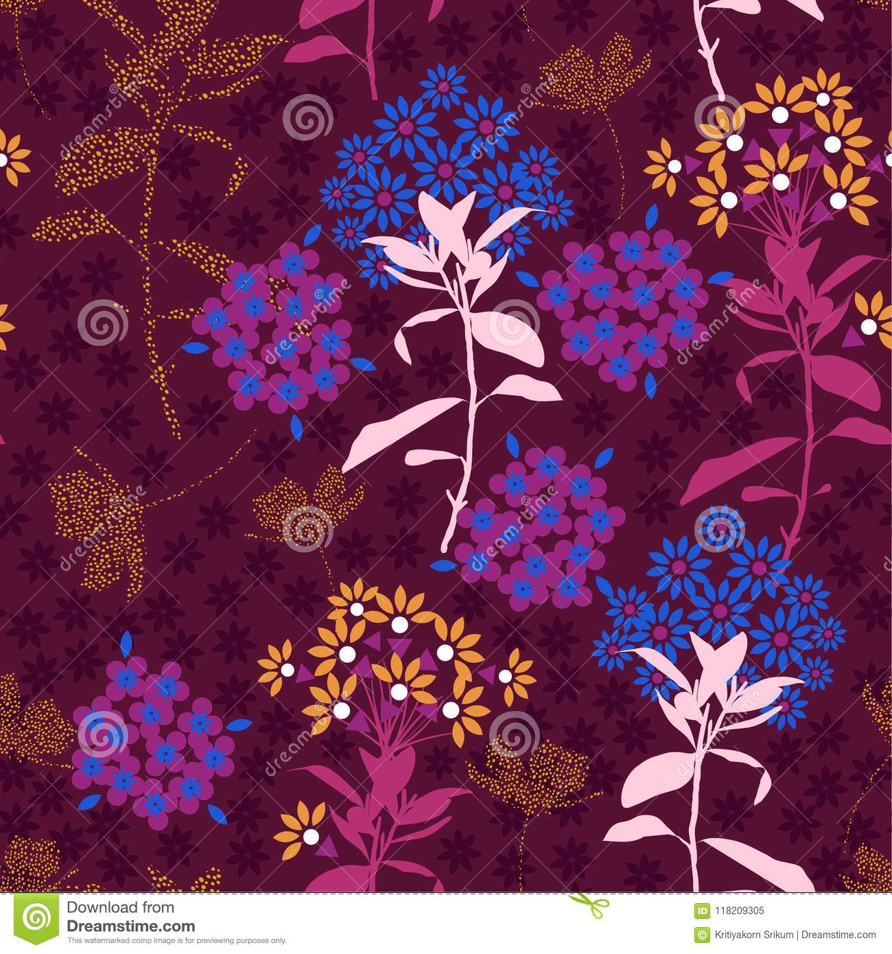 Beautiful Geometric Flower Mix With Garden Leaf In The Dark
