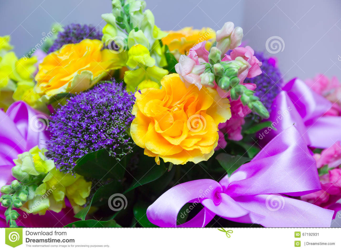 Beautiful Gift Bouquet Of Flowers Stock Image Image Of Mixing