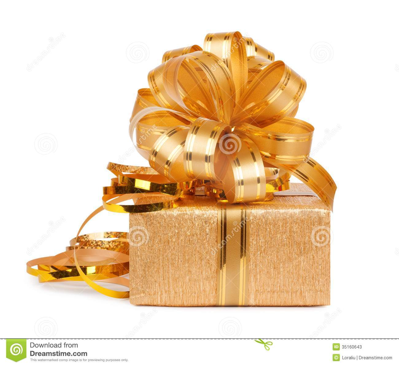 Beautiful gift box in gold wrapping paper stock photos - How to make beautiful gift box ...