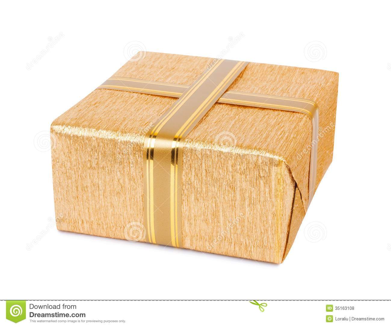 Beautiful Gift Box In Gold Wrapping Paper Royalty Free Stock Photos