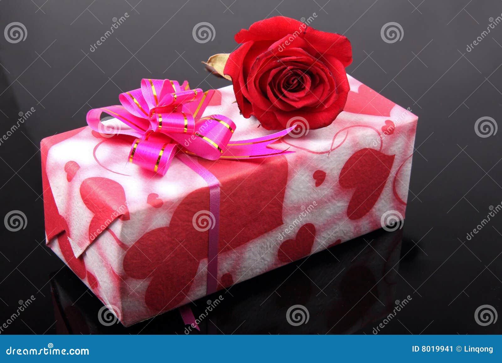 Beautiful Gift Box With Rose Stock Image - Image: 8019941