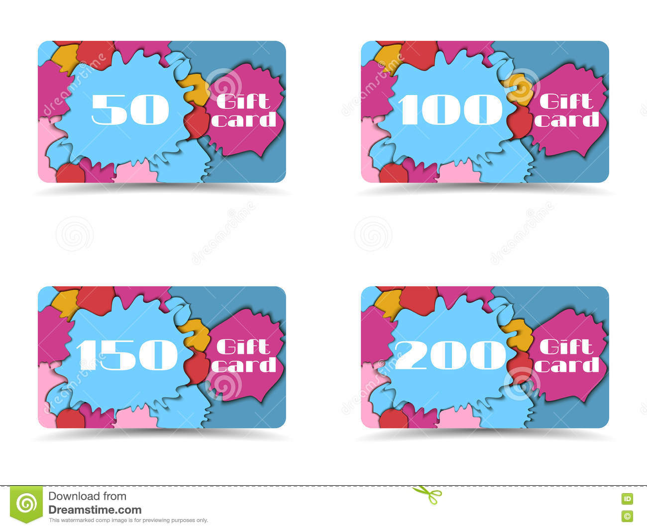 Beautiful gift card. Collection of gift cards. Shopping gift car