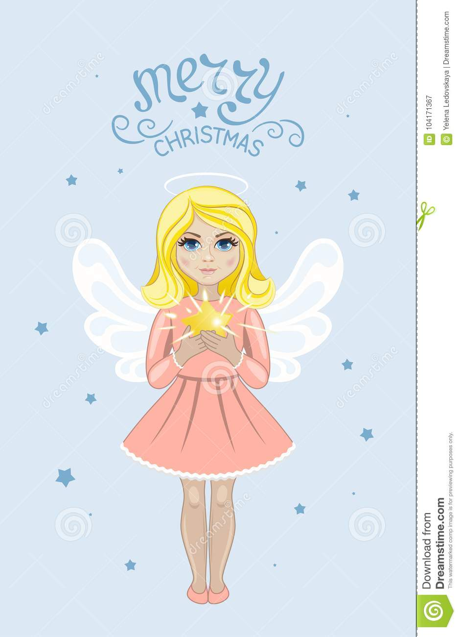 Christmas Angel With Star Stock Vector Illustration Of Young