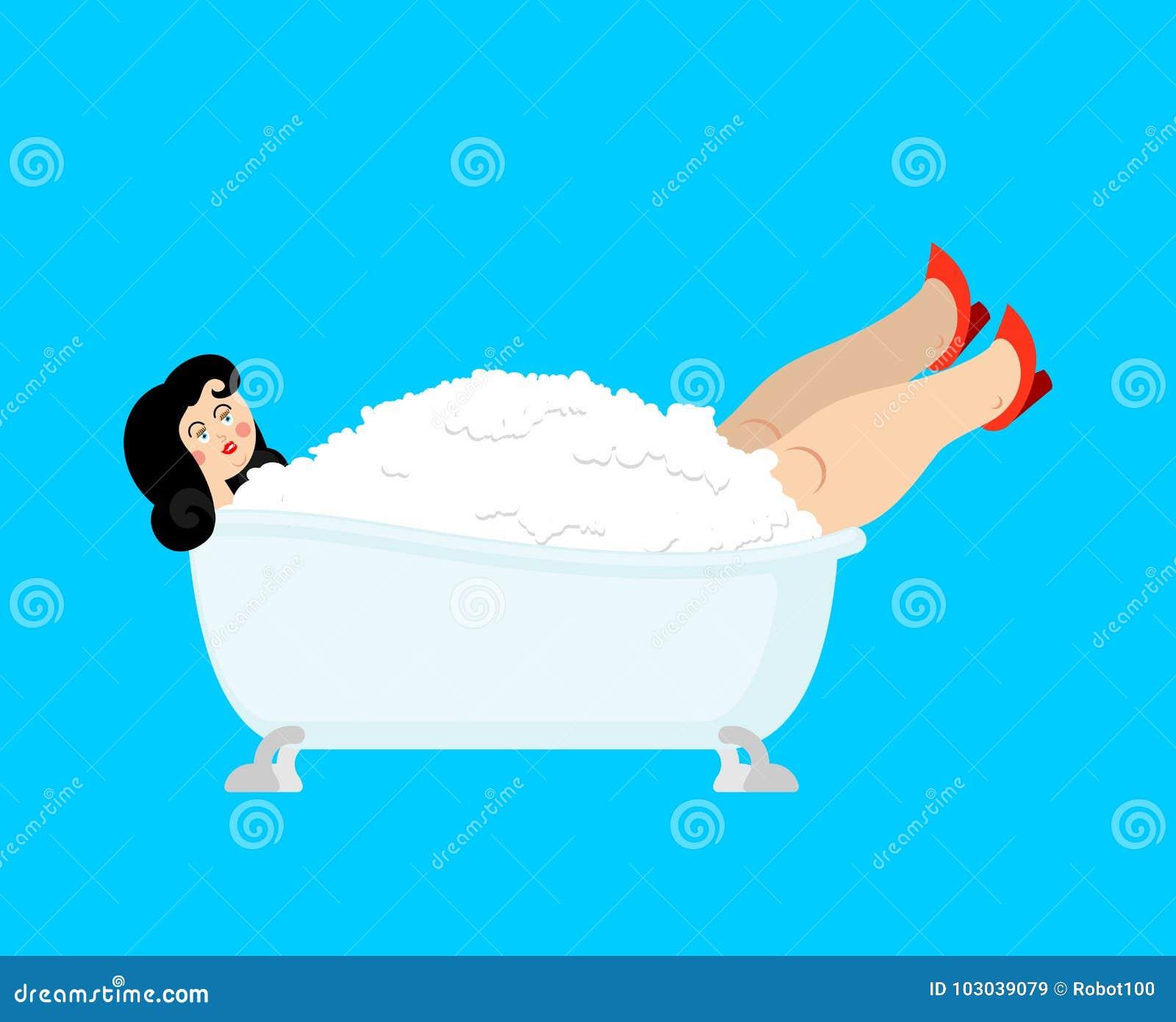 Beautiful Girl In Bath. Woman In Bathtub. Vector Illustration Stock ...
