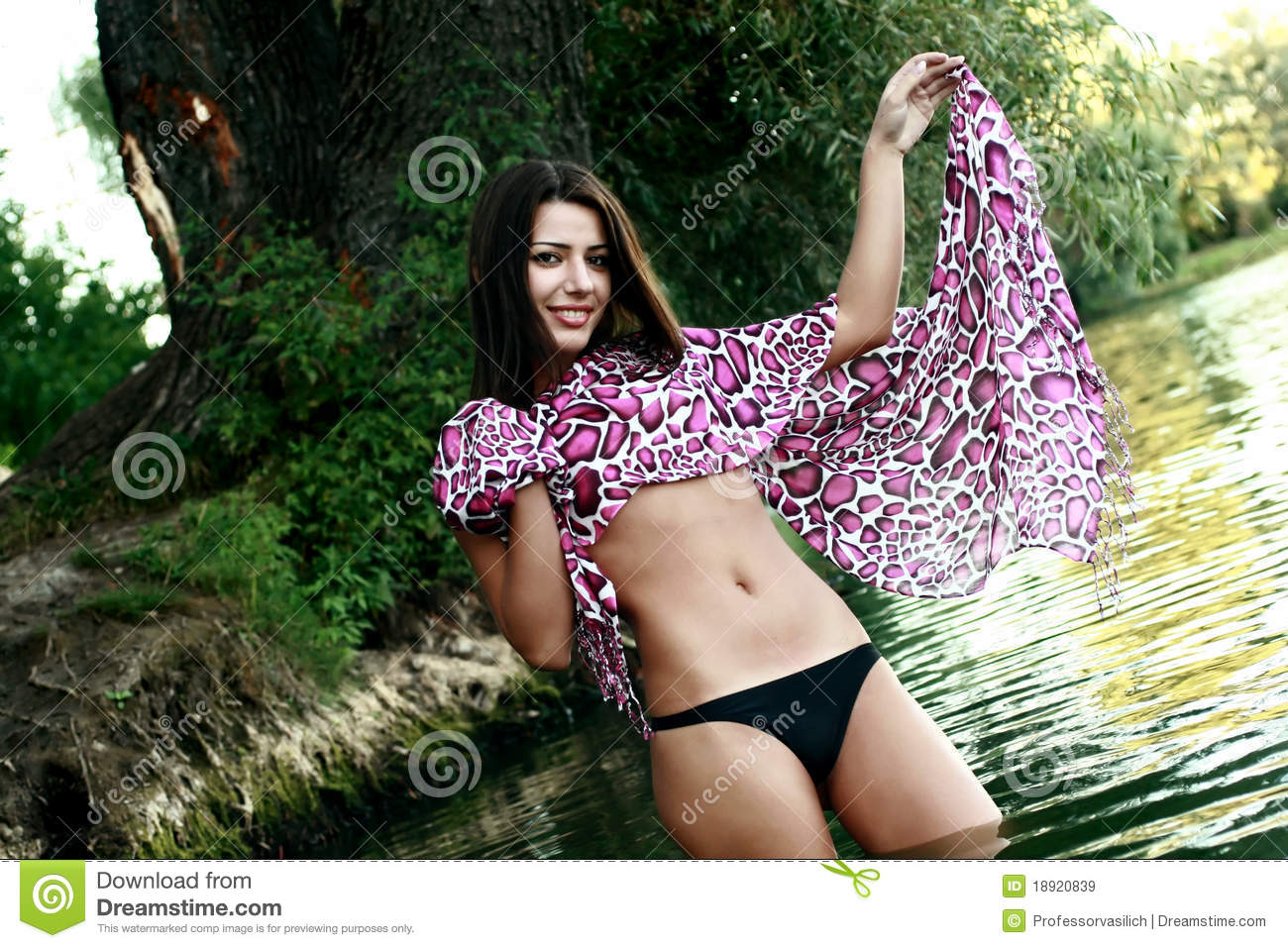 Beautiful Girl Bathing In A Lake Stock Image - Image of