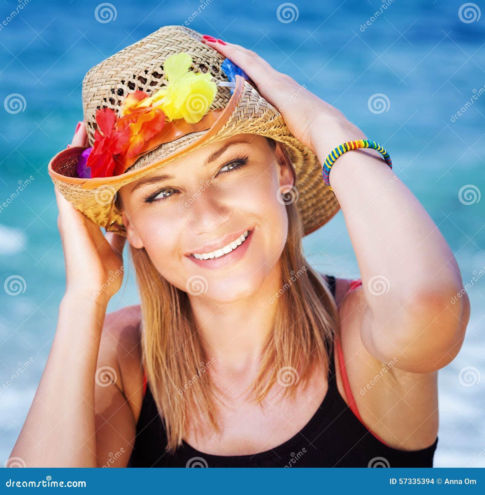 Happy Beautiful Woman Enjoying At Beach Stock Photo: Beautiful Girl On The Beach Stock Photo