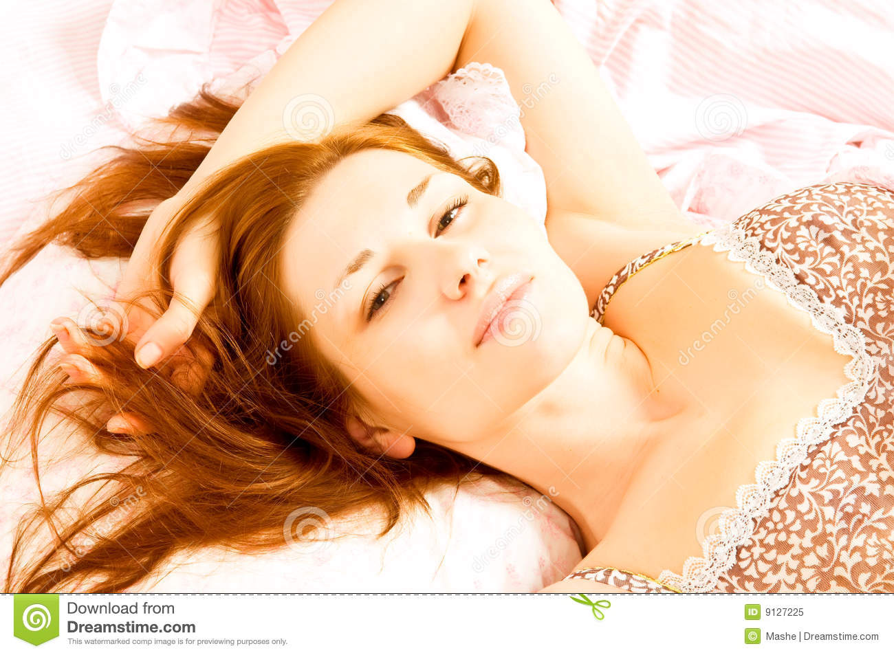 Beautiful girl in bed royalty free stock photo image for Beautiful beds for girls