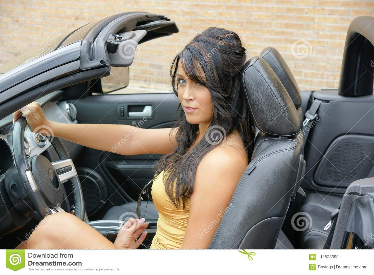 Beautiful Girl Behind The Wheel In The Sport Car Stock Photo Image