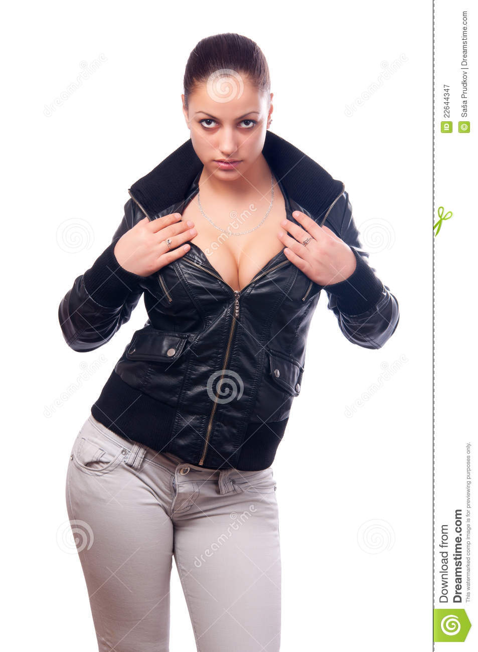 Beautiful Girl In Black Leather Jacket And Jeans Royalty Free