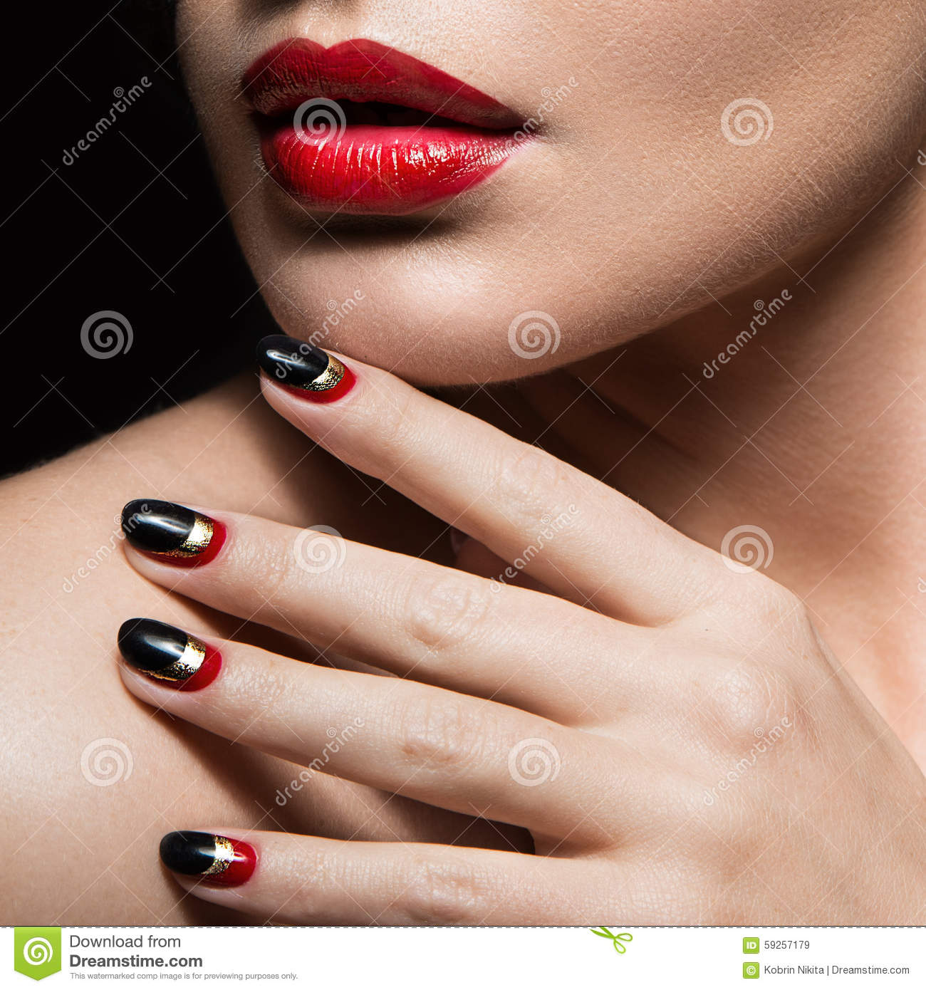 Download Beautiful Girl With Black And Red Nails Design Stock Image