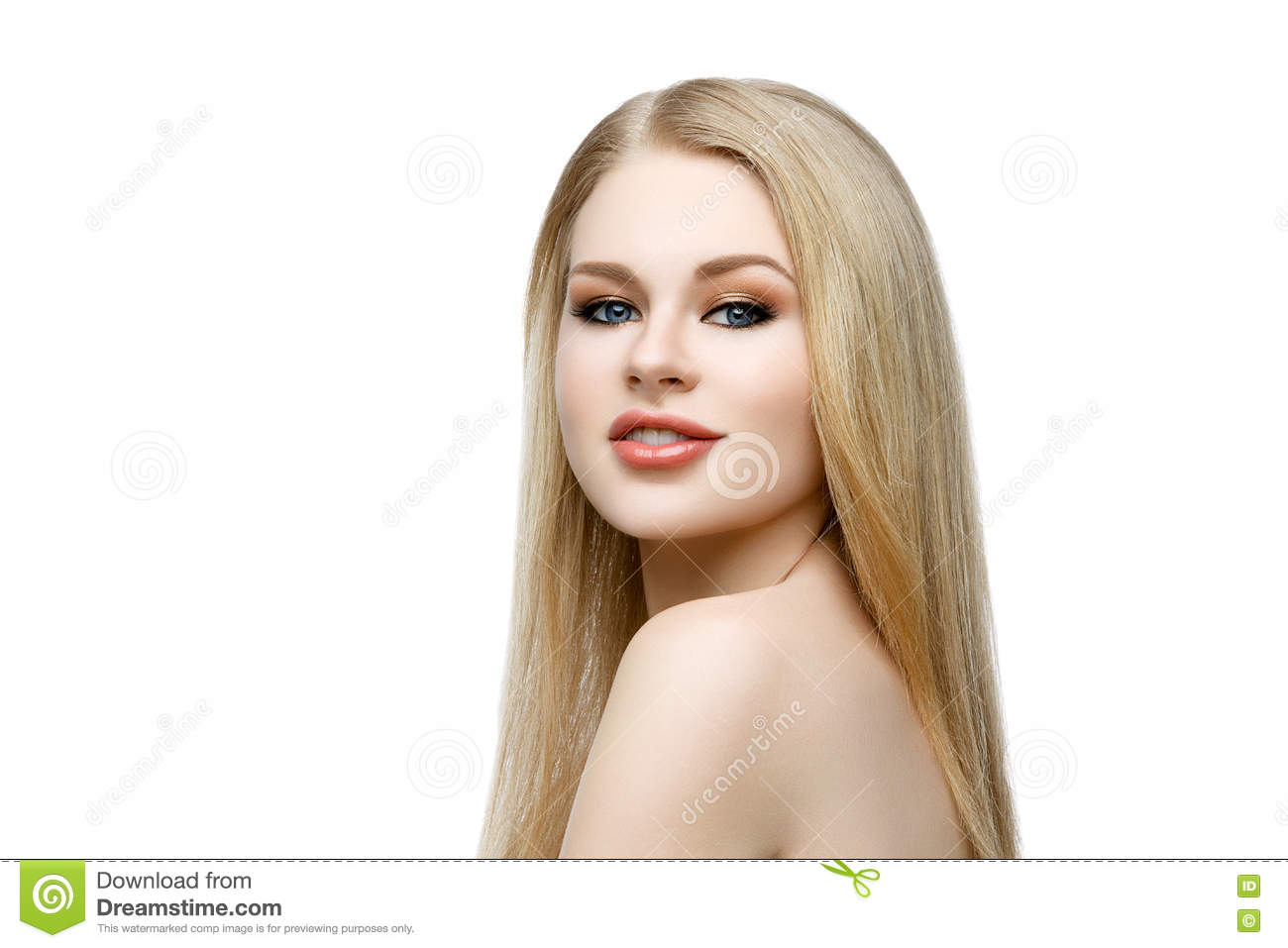 be193bf99b Closeup portrait of beautiful young woman with messy long blond hair and  bright makeup. Beauty shot. Isolated over white background. Copy space.
