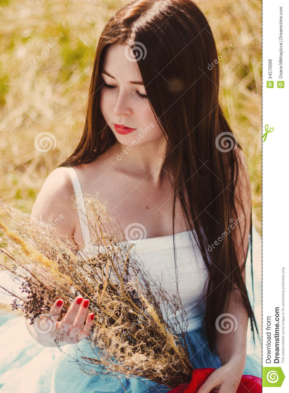 Beautiful Girl In Blue Dress With Red Nails Royalty Free Stock Photos Image 34570698