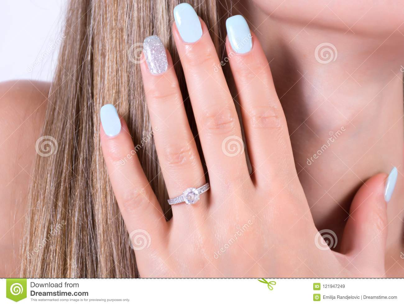 Beautiful Girl With Blue Nails Polish Manicure And Diamonds ...