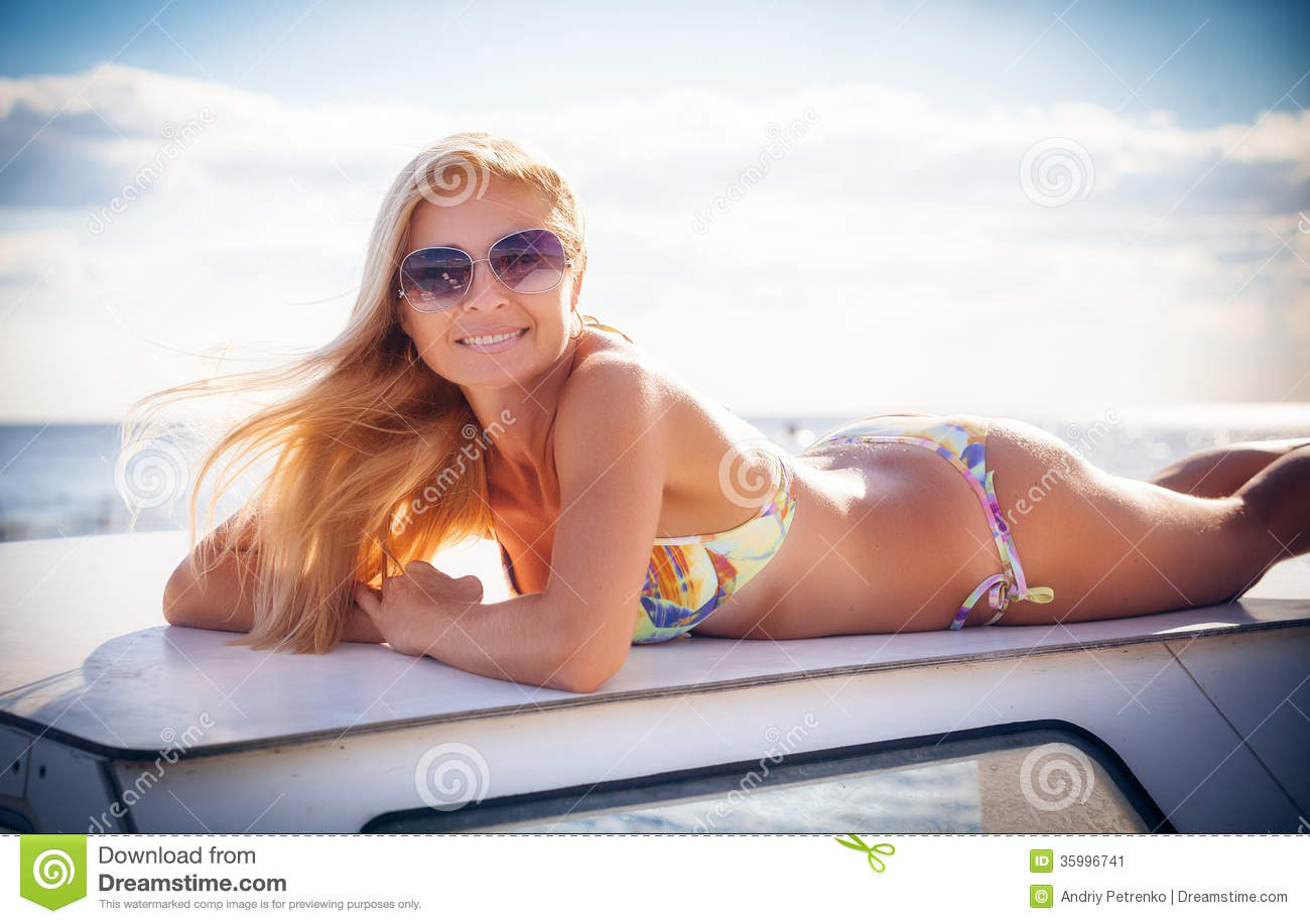 Beautiful Girl By The Boat Stock Image - Image: 35996741