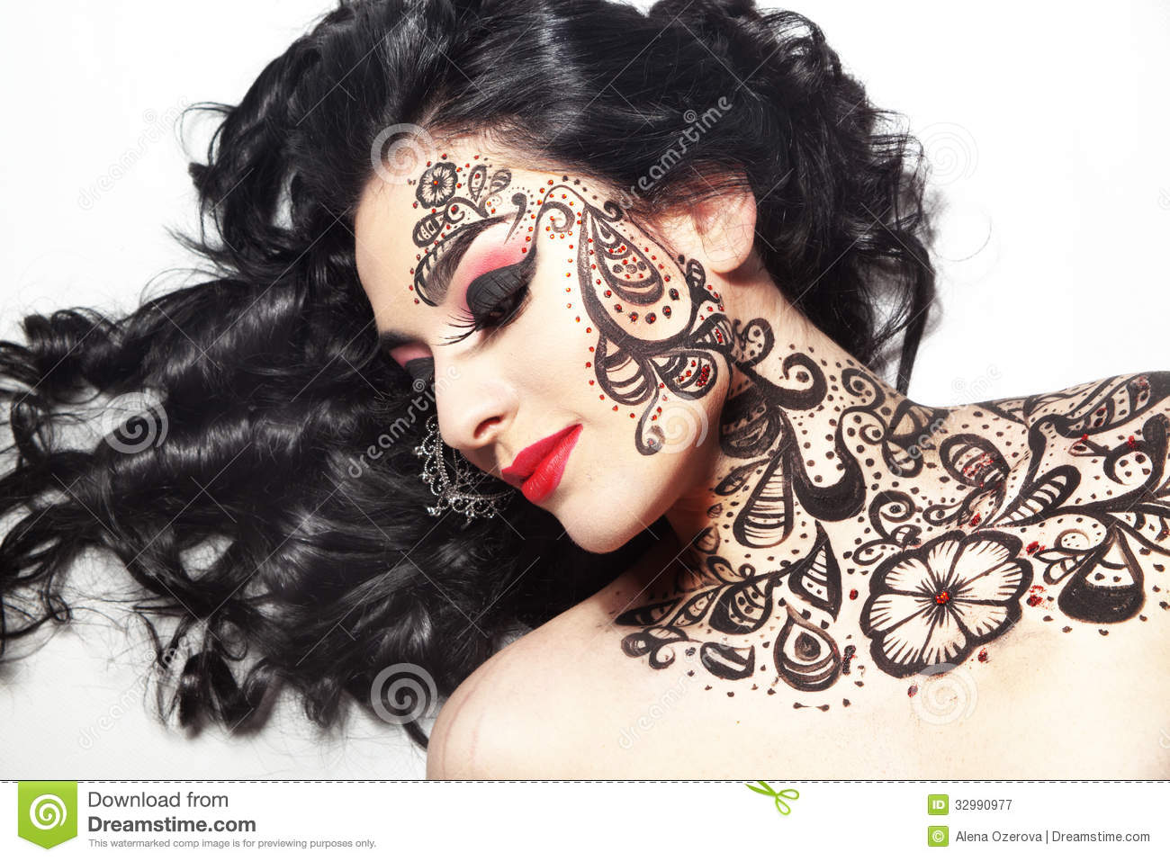 Beautiful Girl With Body Art Stock Image Image Of Face Beauty 32990977