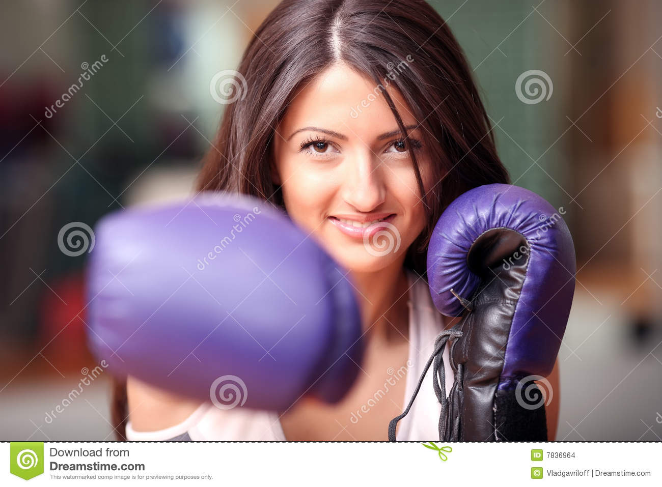 The Beautiful Girl In Boxing Gloves Stock Photo Image