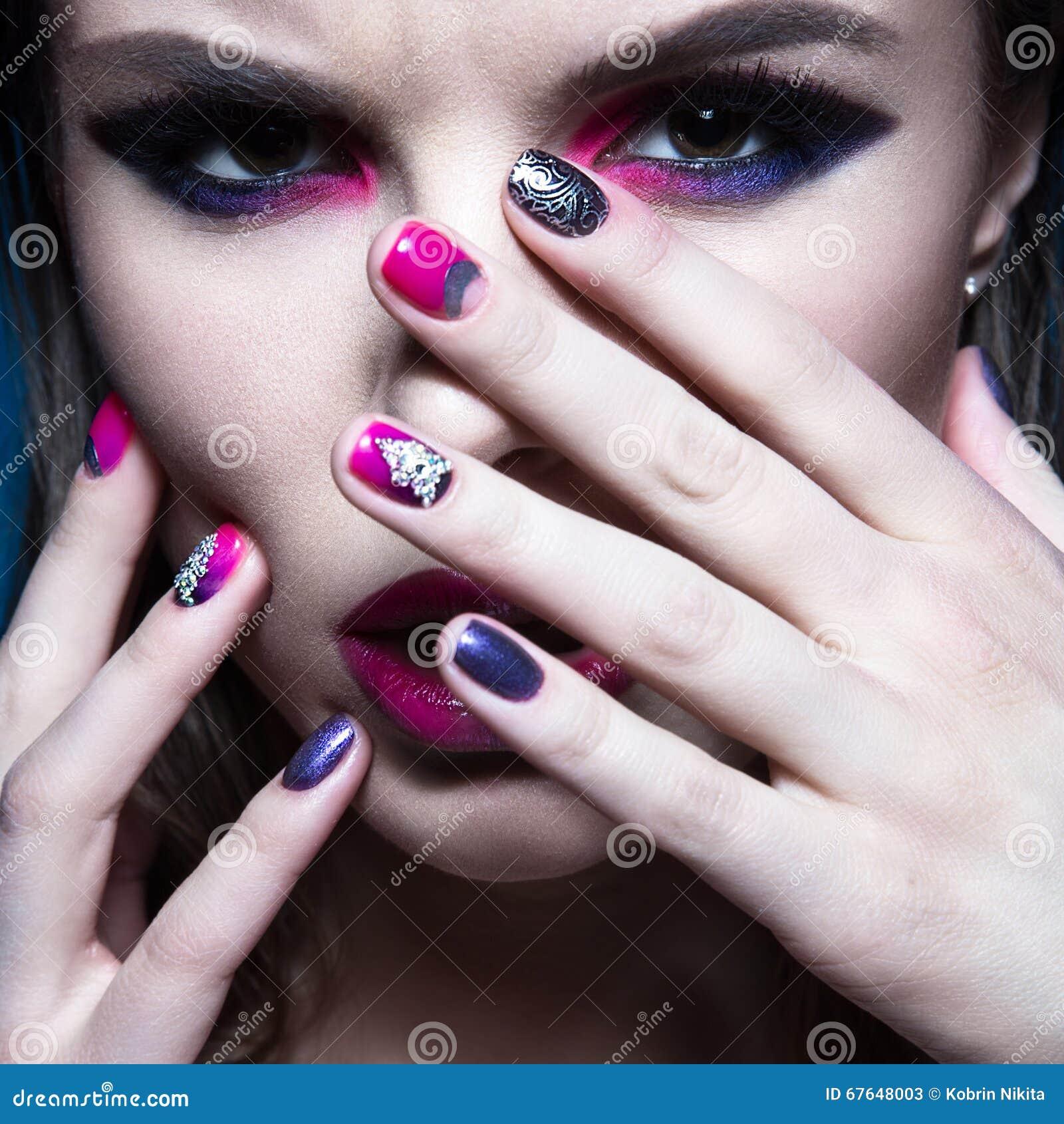 Beautiful Girl With Bright Creative Fashion Makeup And Colorful Nail Polish. Art Beauty Design ...