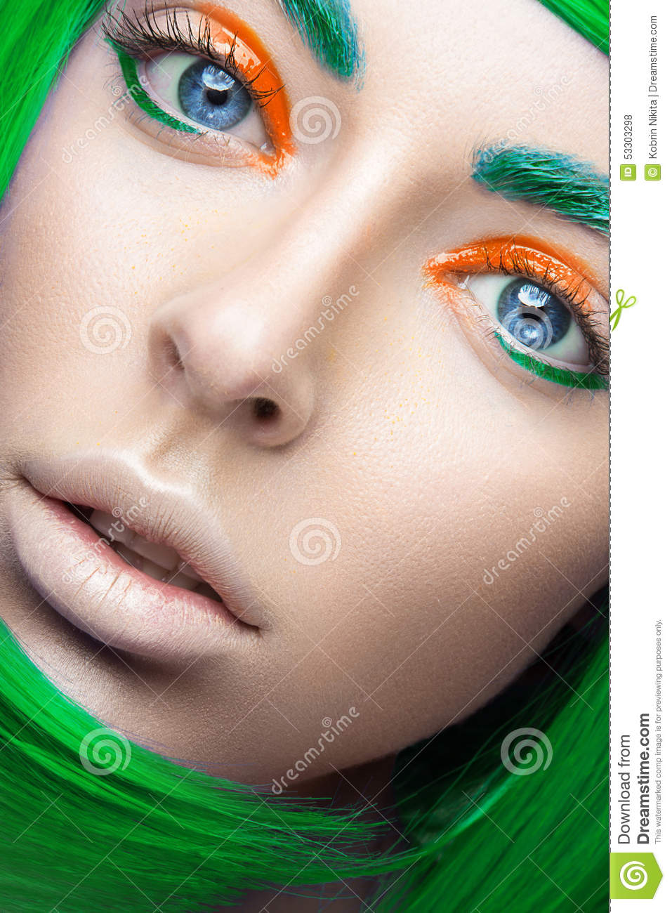 Beautiful Girl In A Bright Green Wig In The Style Of