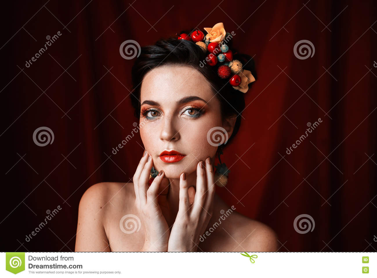 A Beautiful Girl Brunette Woman With Brown Eyes With Bright Makeup