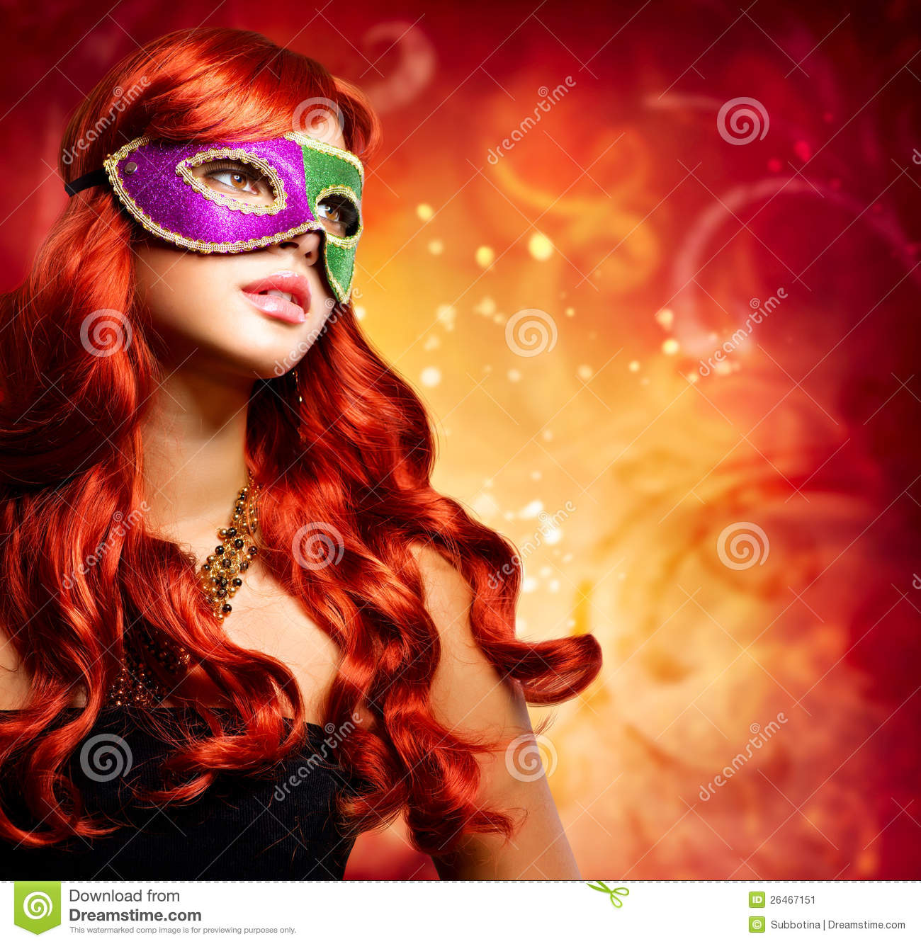 beautiful girl in a carnival mask stock image   image