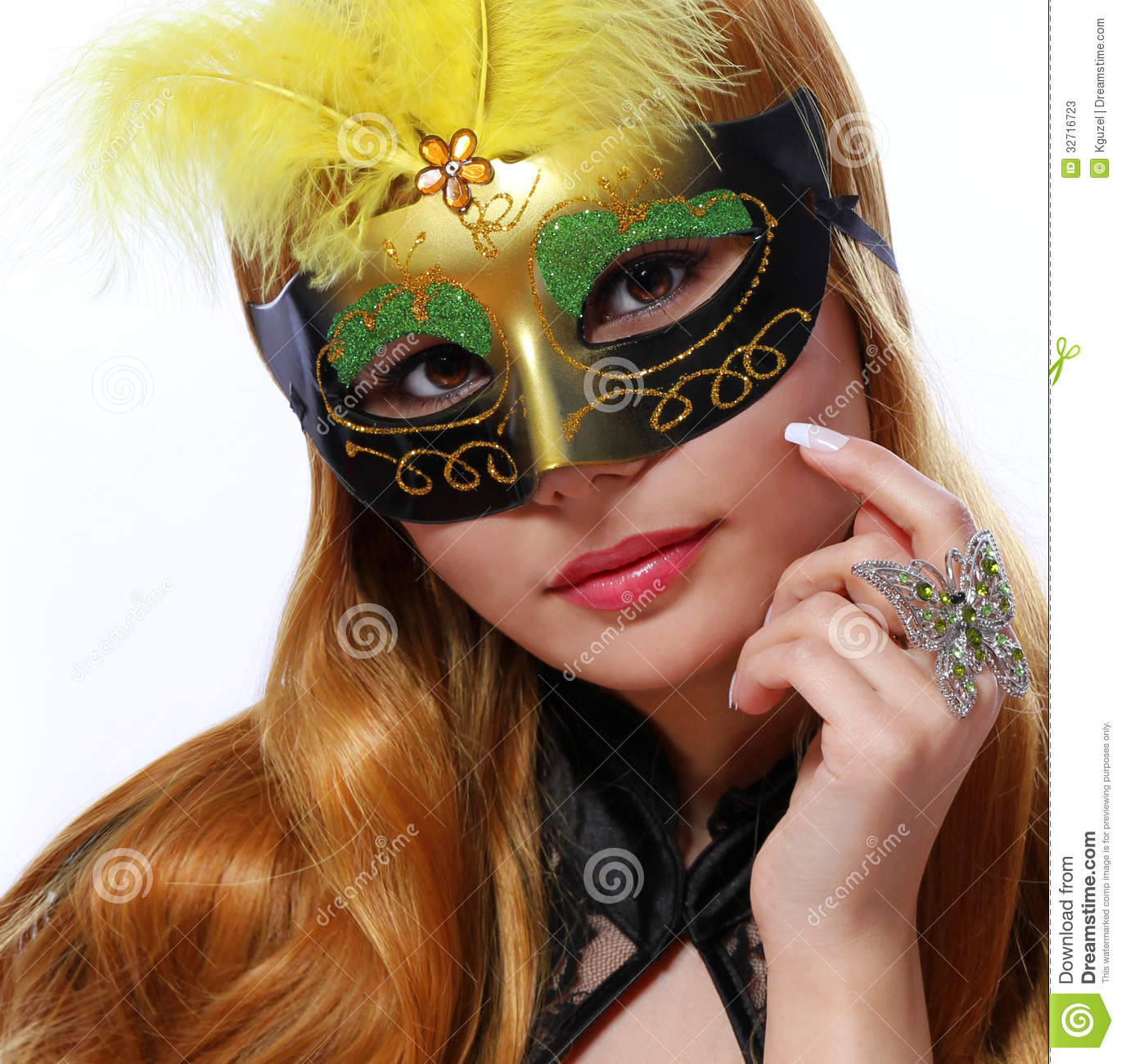 Beautiful Girl With Carnival Mask And Fashion Butterfly Ring Stock Photos Image 32716723