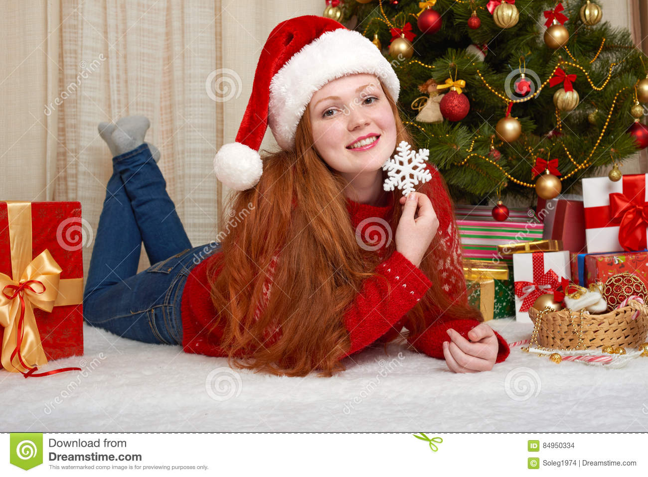 Beautiful Girl In Christmas Decoration. Home Interior With ...