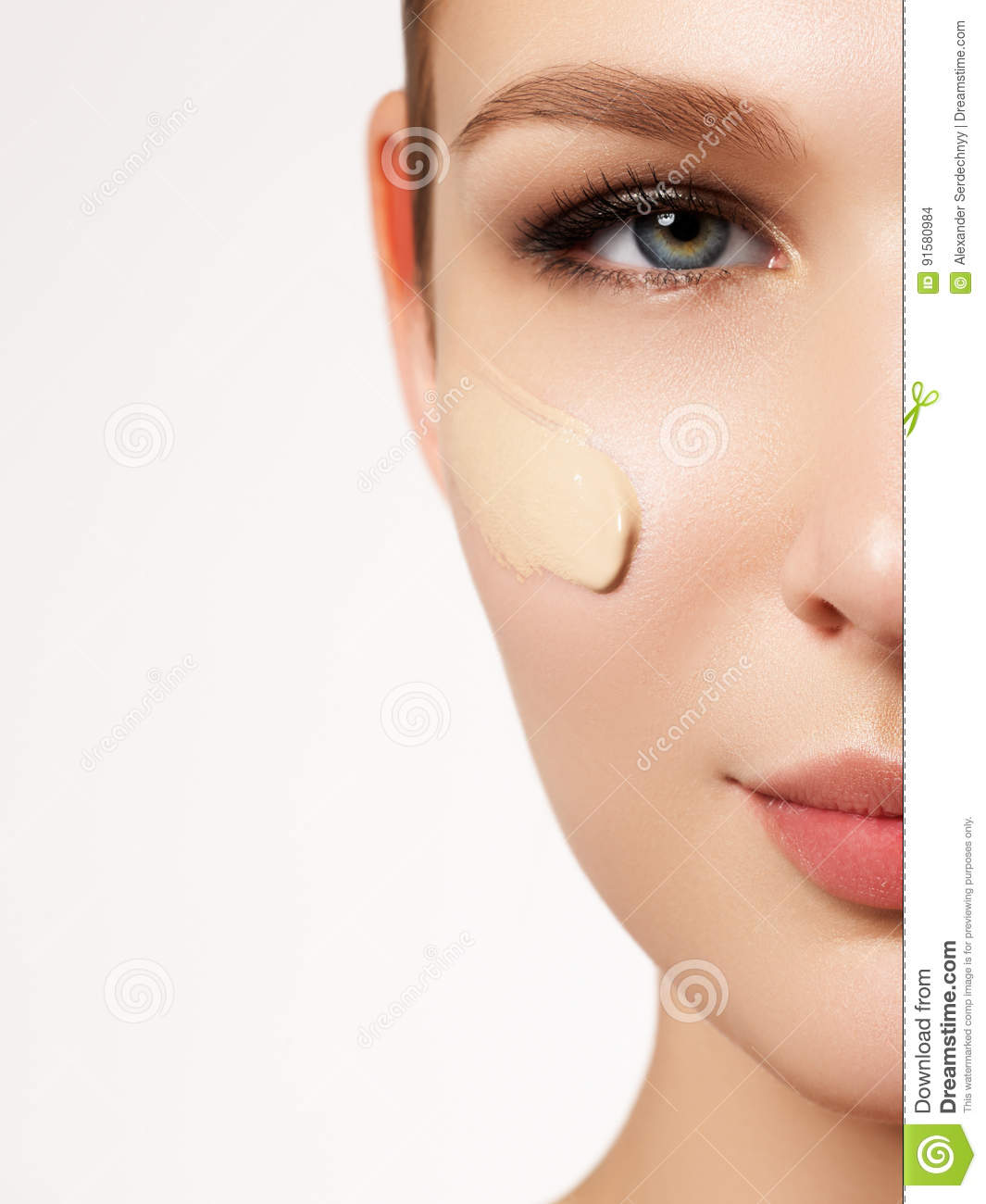Beautiful girl with clean fresh skin close up. Skin care concept