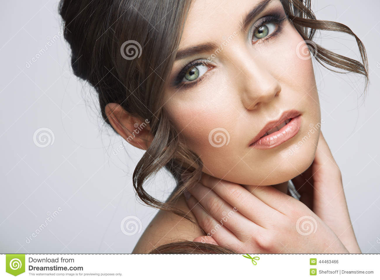 Beautiful girl close up face portrait with long hair style.