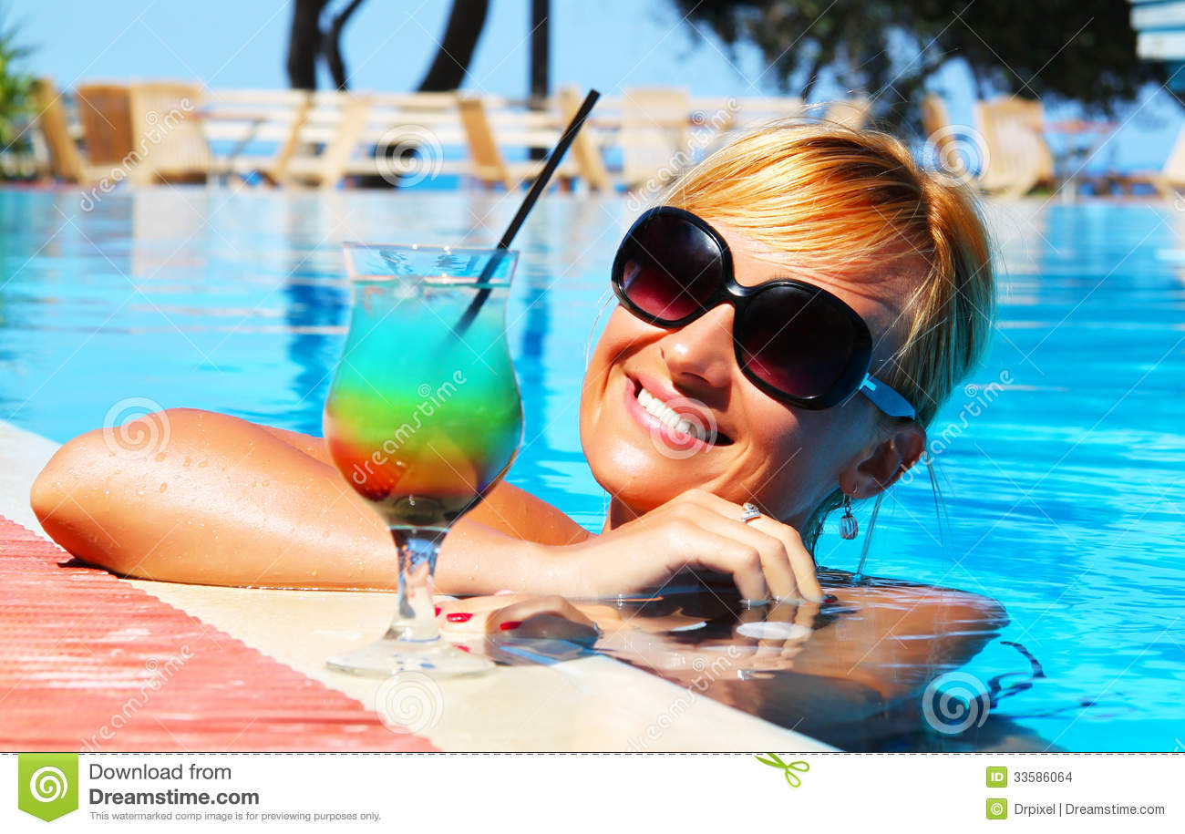 Beautiful Girl And Cocktail Stock Photo Image 33586064