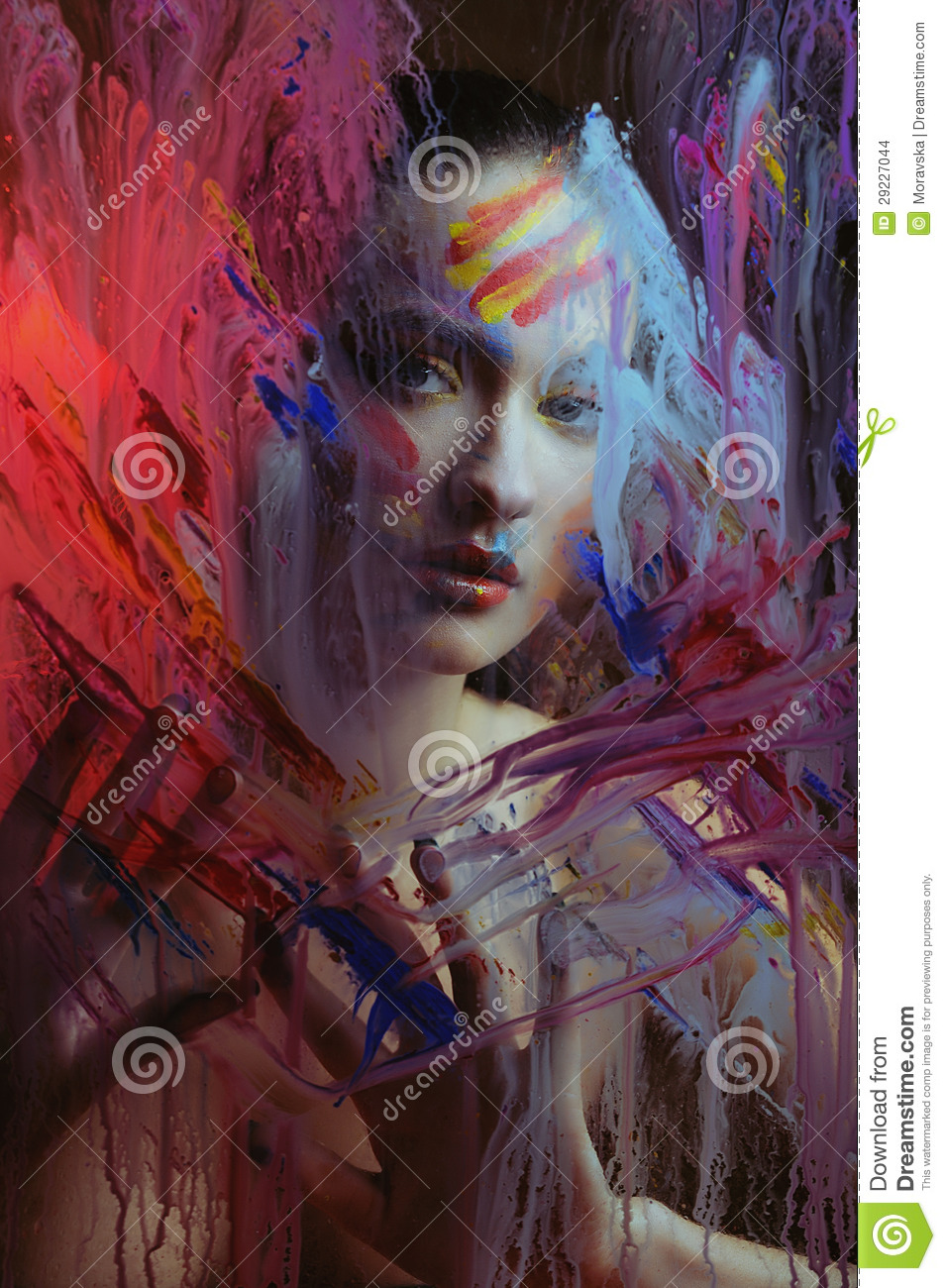 beautiful girl in color paint splash behind the painted color glass stock images image 29227044. Black Bedroom Furniture Sets. Home Design Ideas