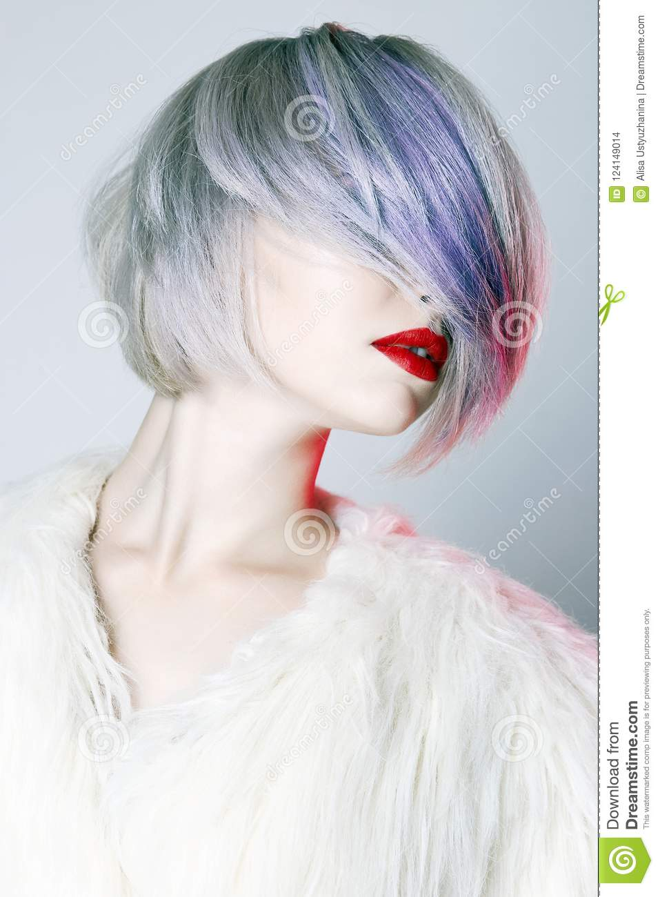 Beautiful Girl With Colorful Hairstyle Stock Photo Image Of Cute