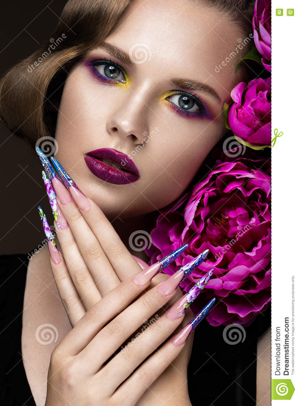 Beautiful Girl With Colorful Make-up, Flowers, Retro Hairstyle And ...