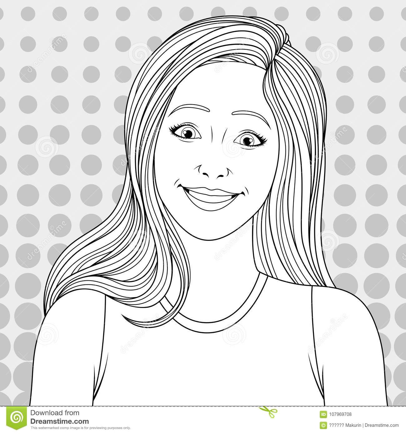 Beautiful Girl Coloring Pages Stock Vector Illustration