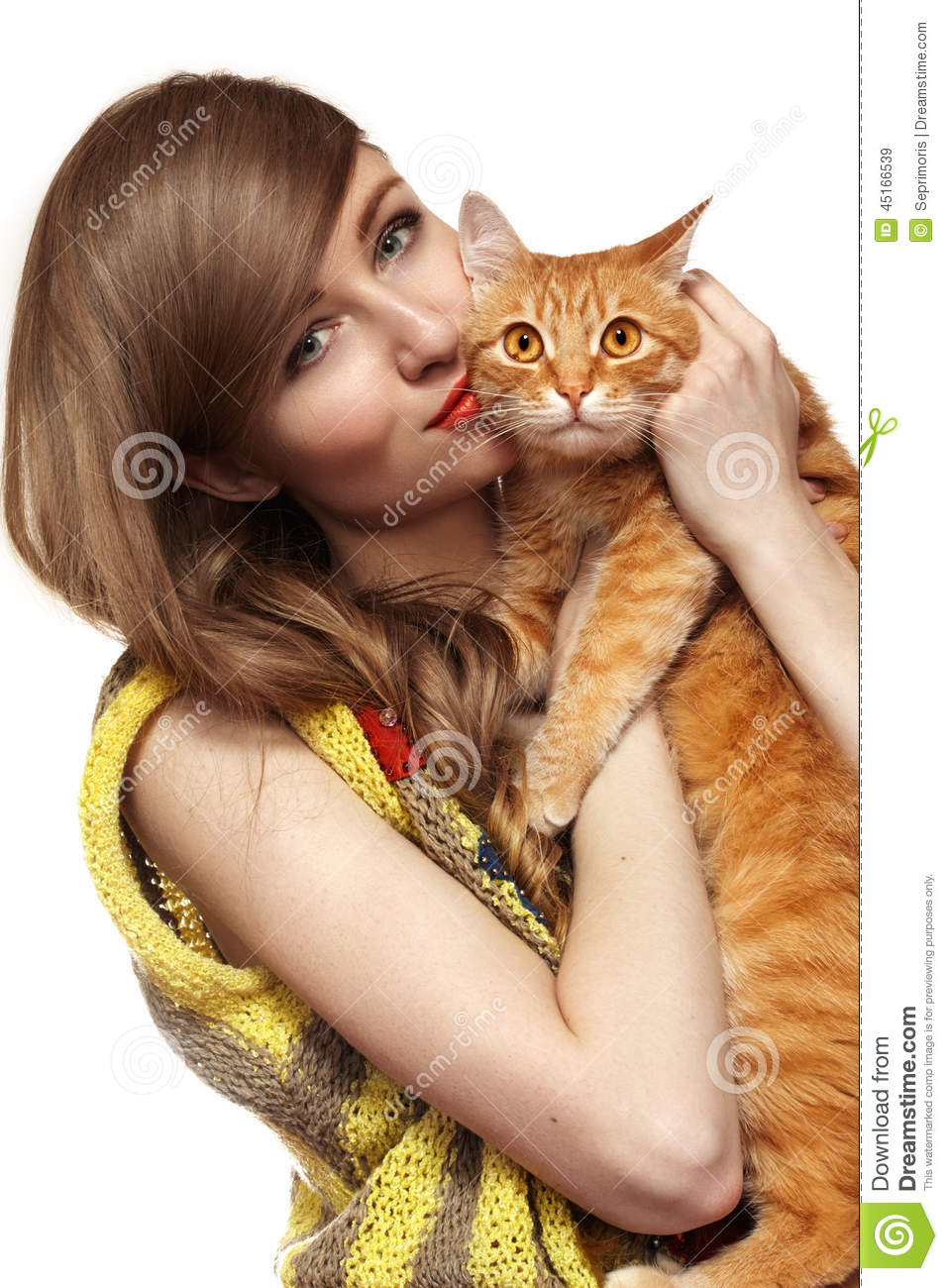 Beautiful Girl With Cute Ginger Cat Love Home Pets Stock Image Image Of Animal Hair 45166539