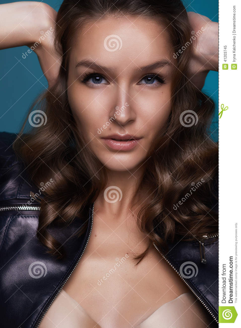 Beautiful Girl With Dark Curly Hair And Blue Eyes Covering Ears Stock Image Image Of Ears Beauty 41203745